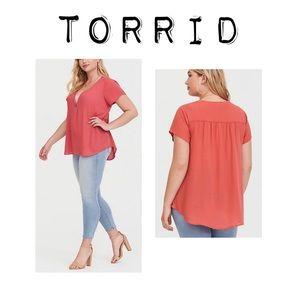 Torrid Pink Zip georgette blouse